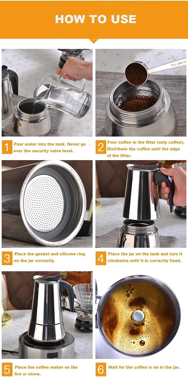 Tritrusten Stovetop - Cafetera de café (6 tazas, acero inoxidable ...