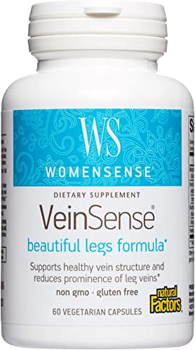 WomenSense VeinSense by Natural Factors, Beauty Supplement to Support Healthy Veins and Beautiful Legs, Vegan, Non-GMO, 60 capsules 20 servings
