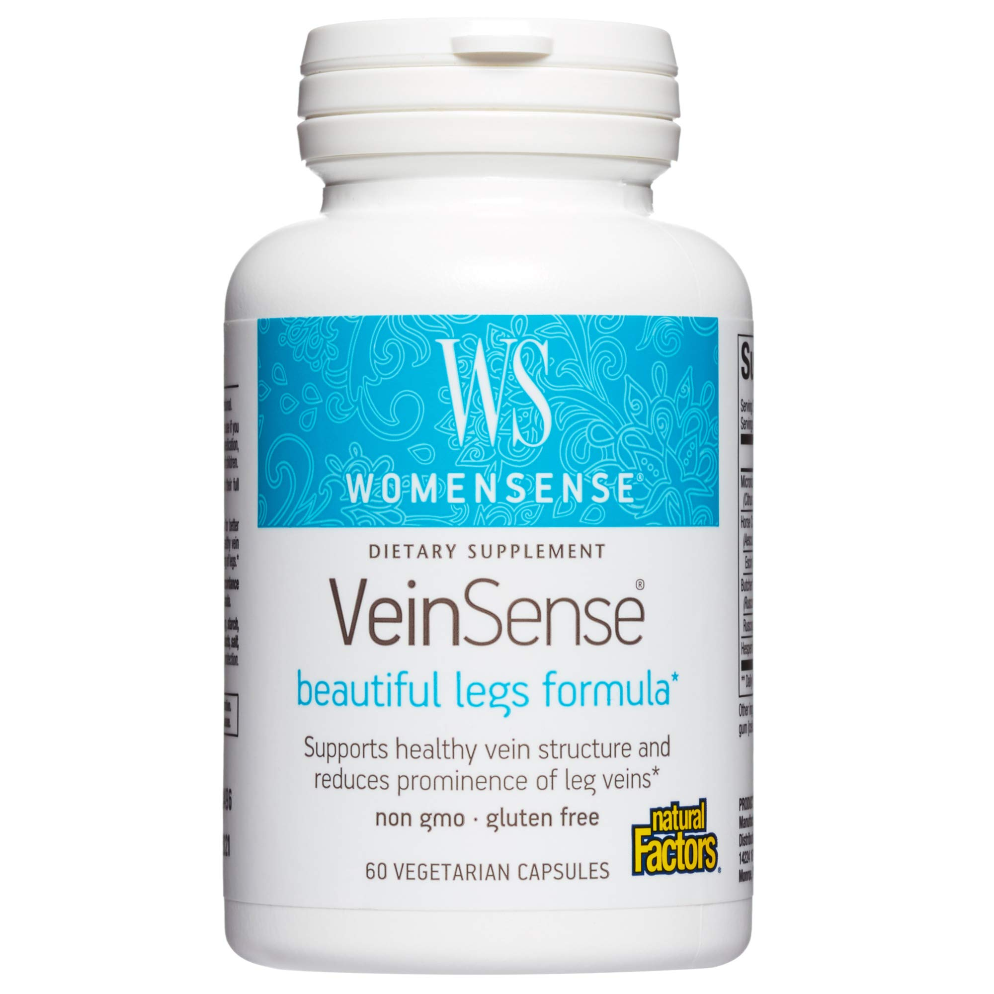 WomenSense VeinSense by Natural Factors, Beauty Supplement to Support Healthy Veins and Beautiful Legs, Vegan, Non-GMO, 60 capsules (20 servings)