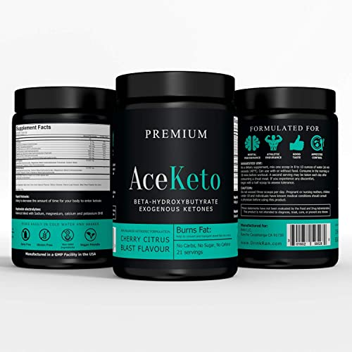 ACEKETO Exogenous Ketones for Keto Diet 21 Servings BHB Salts by AceKeto Boost Energy Improve Focus Cherry Citrus Flavor Made in USA