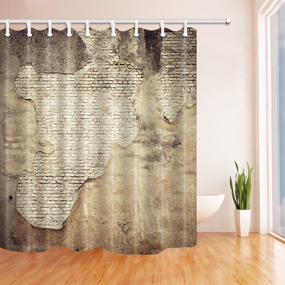 CDHBH Cortina de ducha con anillas, diseño rústico de piedra, para decoración de la pared, tejido de poliéster resistente al moho, cortina de ducha con anillas, 182,88 x 182,88 cm