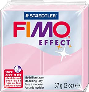 Staedtler FIMO Effects Polymer Clay - -Oven Bake Clay for Jewelry, Sculpting, Light Pastel Pink 8020-205
