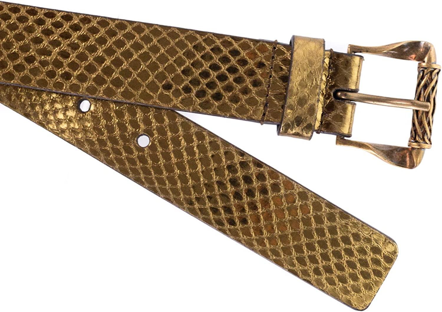 Roberto Cavalli Bronze Snake Texture Leather Carved Buckle Belts