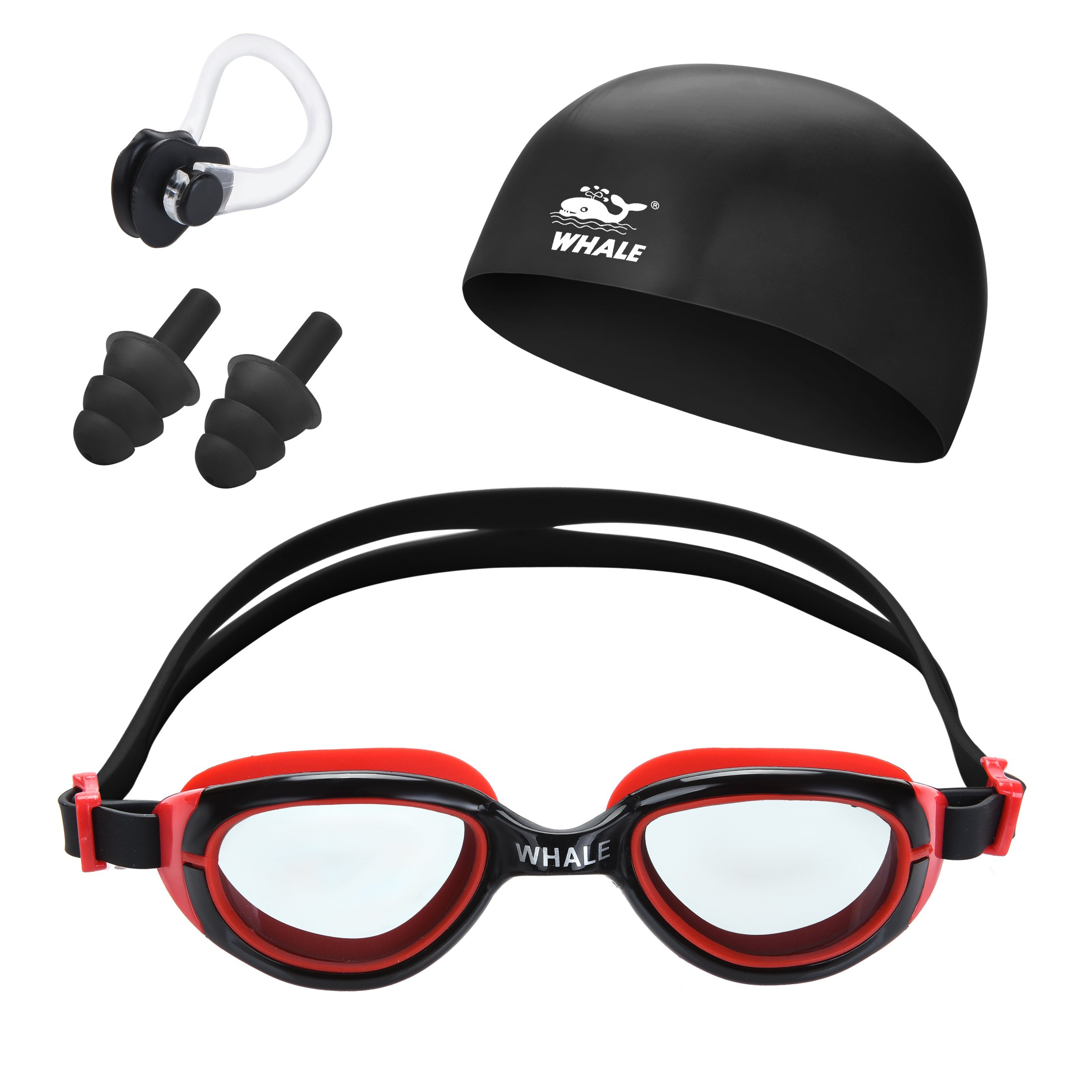 9dfa2176ad77 Sports   Outdoors Whale Kids Swim Goggles Set with Anti Fog UV Protection  Adjustable Swimming Goggles Swim Cap and Ear Plugs Nose ...