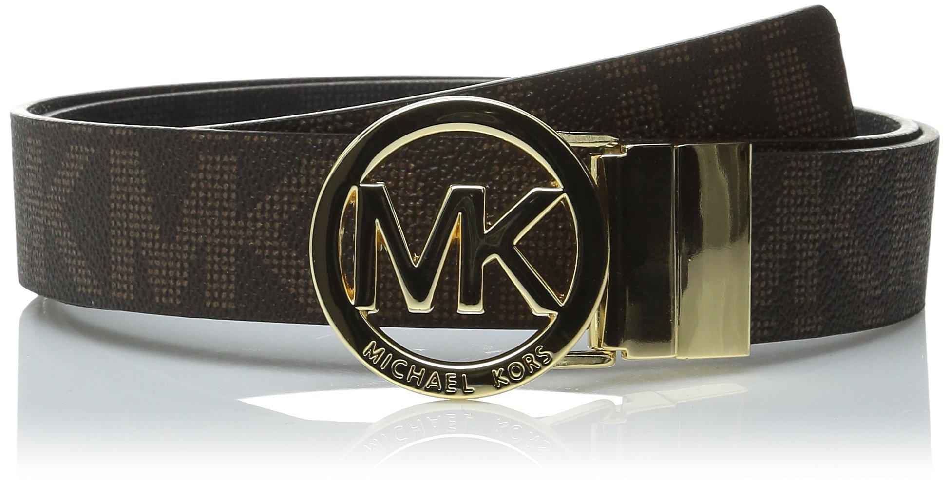 Michael Kors Women's MK Signature Logo Reversible Belt-Brown/Black-XL