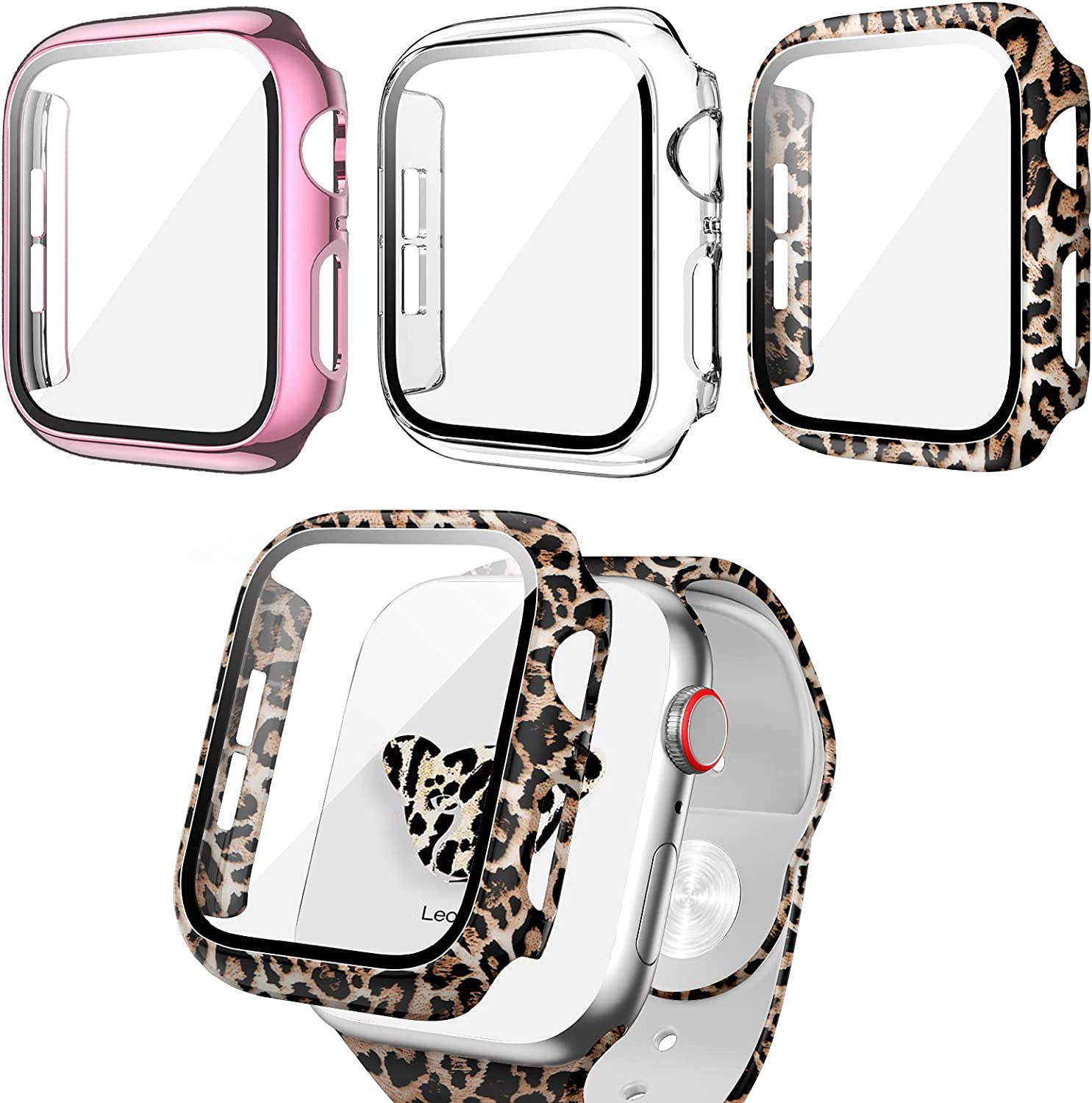 3 Pack Apple Watch Case with Tempered Glass Screen Protector for Apple Watch 44mm Series 6/5/4/SE,RTong Full Hard PC Ultra-Thin Scratch Resistant Thin Bumper HD Protective Cover for iWatch 44mm