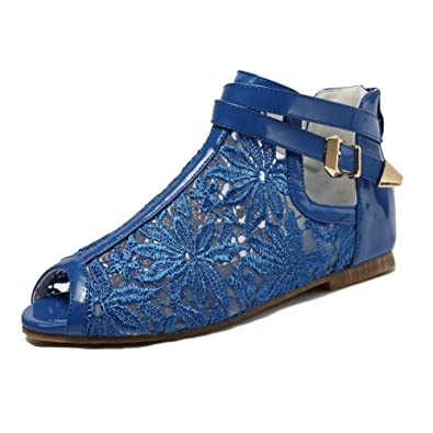 ea5c8c05ce2b getmorebeauty Women s Pretty Lace Flats Wedding Shoes Flowers with Ankle  Strap Sandals (5 B(