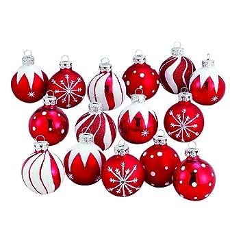 Amazon.com: Kurt Adler 1.57-Inch Red/White Decorated Glass Ball ...