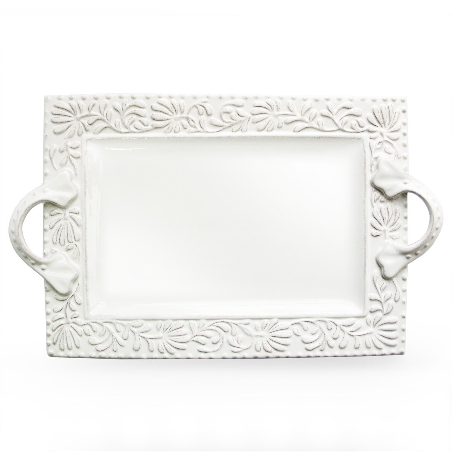 Christmas Tablescape Décor - White earthenware rectangle Bianca Leaf embossed handled platter by American Atelier