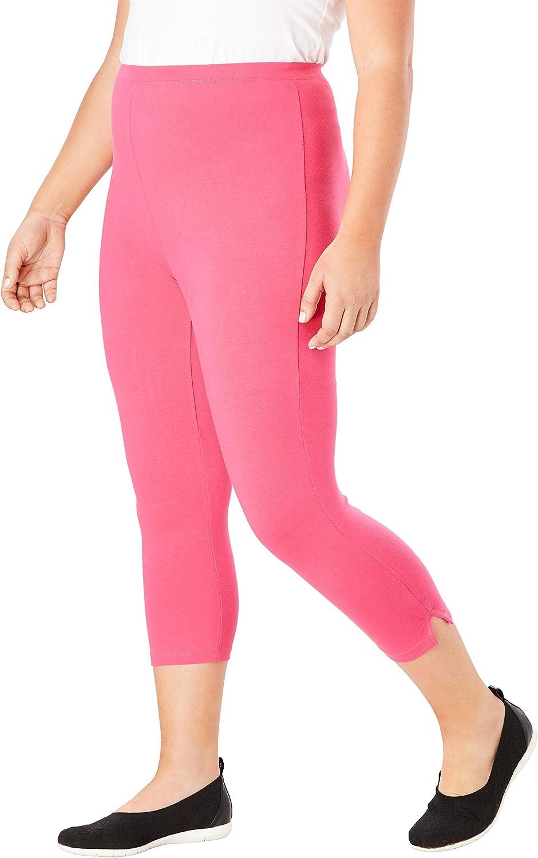 Heather Charcoal 1X Woman Within Womens Plus Size Stretch Cotton Capri Legging