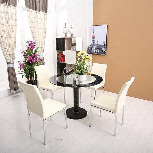 Moderno redondo cristal mesa de comedor y 4 sillas de color beige ...