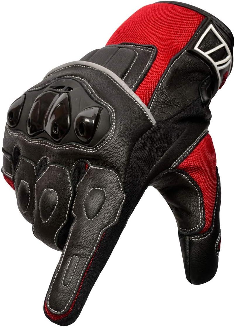 Cuero Premium Transpirable Nudillos Protecci/ón pantalla t/áctil Guantes Carreras ATV Guantes Medio, Negro Oro Biker Guantes de Moto