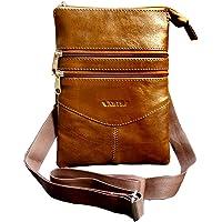 ABYS Genuine Leather Unisex Tan Sling Bag||Messenger Bag||Shoulder Bag ||Hand Bags with Adjustable Strap