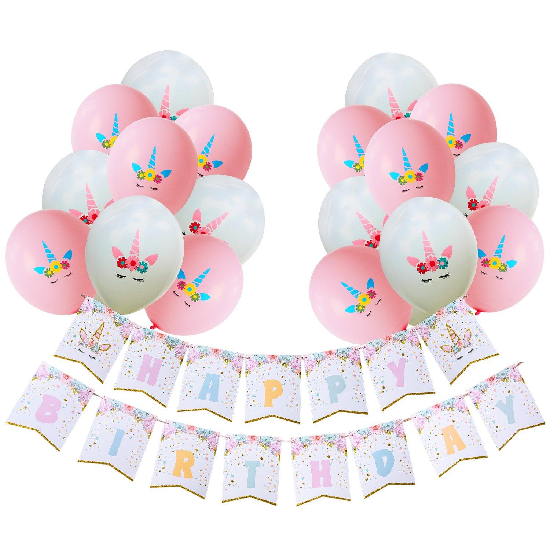 achat AMZTM Ensemble De Décorations De Fête d'anniversaire pour Filles Unicorn à Thème Articles De Happy Birthday (Licorne Bannière Ballon Ensemble) pas cher prix