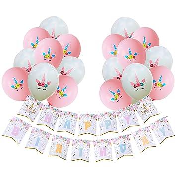 AMZTM Decorados Fiesta De Cumpleaños Conjunto para Mujeres Artículos para Fiestas Temáticas De Unicornios Happy Birthday (Unicornio Bandera Globo ...