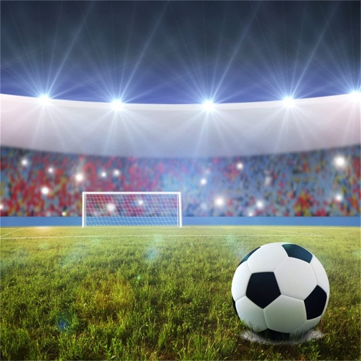 Amazon Com Aofoto 6x6ft Soccer Stadium Backdrop Football Field Fans And Flash Light Night Spotlight Photography Background Sports Match Game Kid Boy Child Girl Portrait Photo Studio Props Video Drape Wallpaper