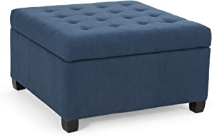 Christopher Knight Home Hedda Tufted Fabric Storage Ottoman, Navy Blue, Dark Brown