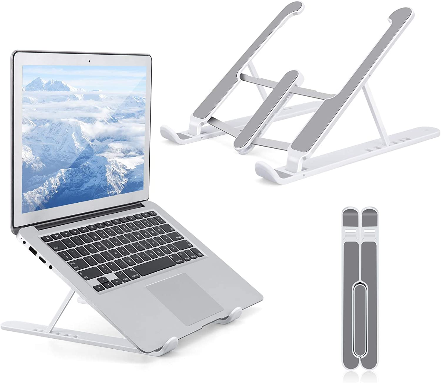 Gomyhom Laptop Stand, Foldable Portable Desktop Computer Laptop Stand, 6-Level Angle Adjustable Height Laptop Mount, Suitable for All Laptops and Tablets Gray