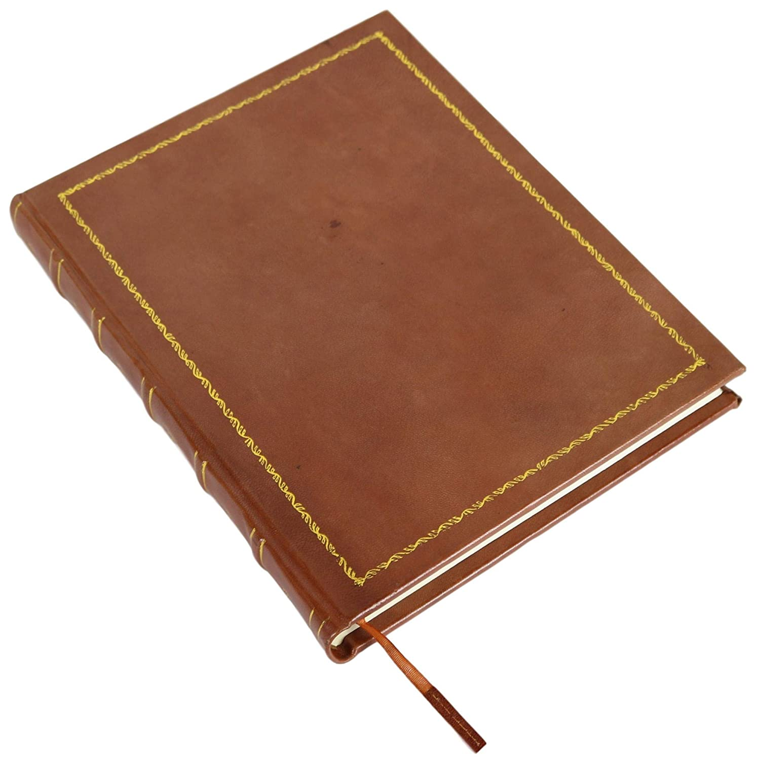 Brown Rustic Journal Vintage Notebook Gilt Hardcover Book Blank Unlined 10 X 13 Inches