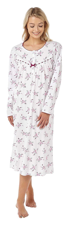 La Marquise - Vestido de Noche para Mujer, diseño Floral, 100% algodón, Manga Larga
