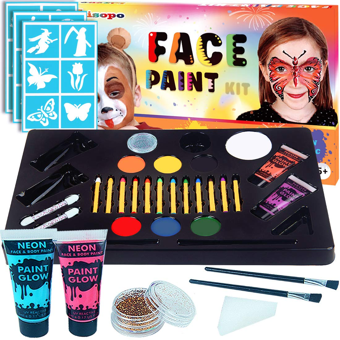 25 Colors Face Makeup Paint, LISOPO Makeup Facepainting Kits for Party Halloween: 12pcs Paintings Pencils + 7pcs Painting Colors + 4pcs UV Neon Paint + 2pcs Shine + 4pcs Brushes + 1pcs Sponge Triangle