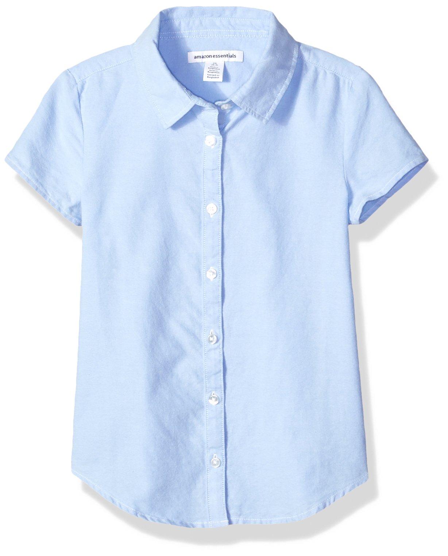 Amazon Essentials Girls' Short Sleeve Uniform Oxford Shirt, Blue, XL (12)