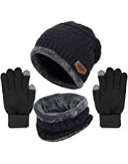 Yoklili Winter Knit Beanie Hat Neck Warmer Loop Scarf Gloves Set, Fleece Lined Slouchy Snow Ski Skull Cap/Infinity Scarves & Touch Screen Mittens for Men Women