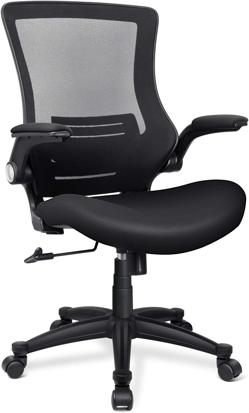 Funria Mid Back Mesh Office Chair Ergonomic Swivel Black Task Office Chair with Flip-Up Arms Lumbar Support Computer Desk Chairs