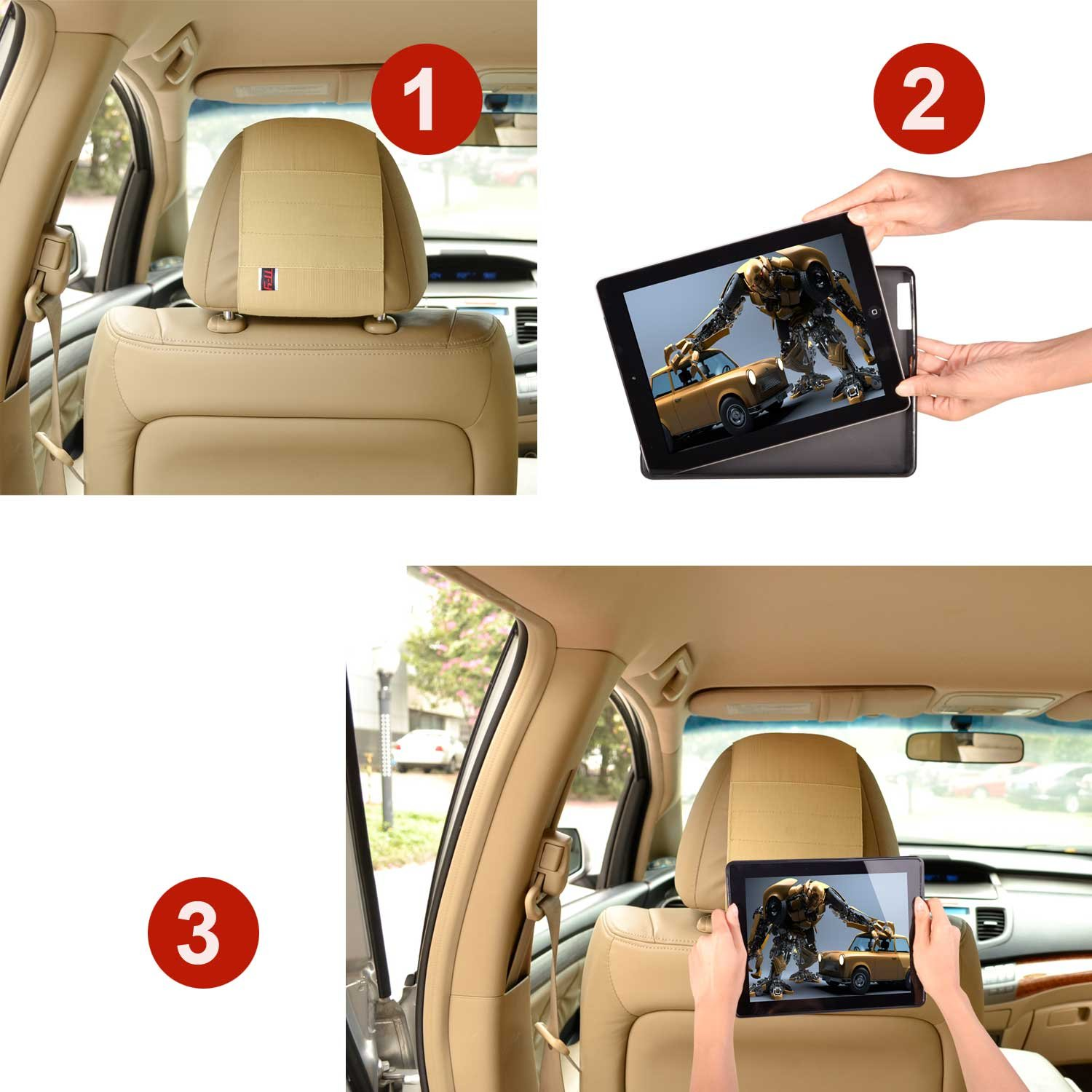 Tfy Car Headrest Mount Holder For Kindle Fire Hd 7 Chair Wire Harness Previous Generation Fast Attach Release Edition Black Only Fits