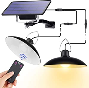 Dual Head Solar Pendant Lights Outdoor/Indoor, IP65 Waterproof Solar Powered Hanging LED Shed Lights with Remote Control 9.8Ft Cord, Chicken Coop Light for Home Yard Patio Barn Garage Porch Balcony