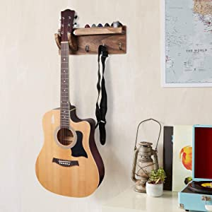 Premium Wood Guitar Wall Hanger By Metal Hands – Best Bracket Holder Rack with Pick Holder and 3 Hooks – Best of Professional and Beginner Guitar Player