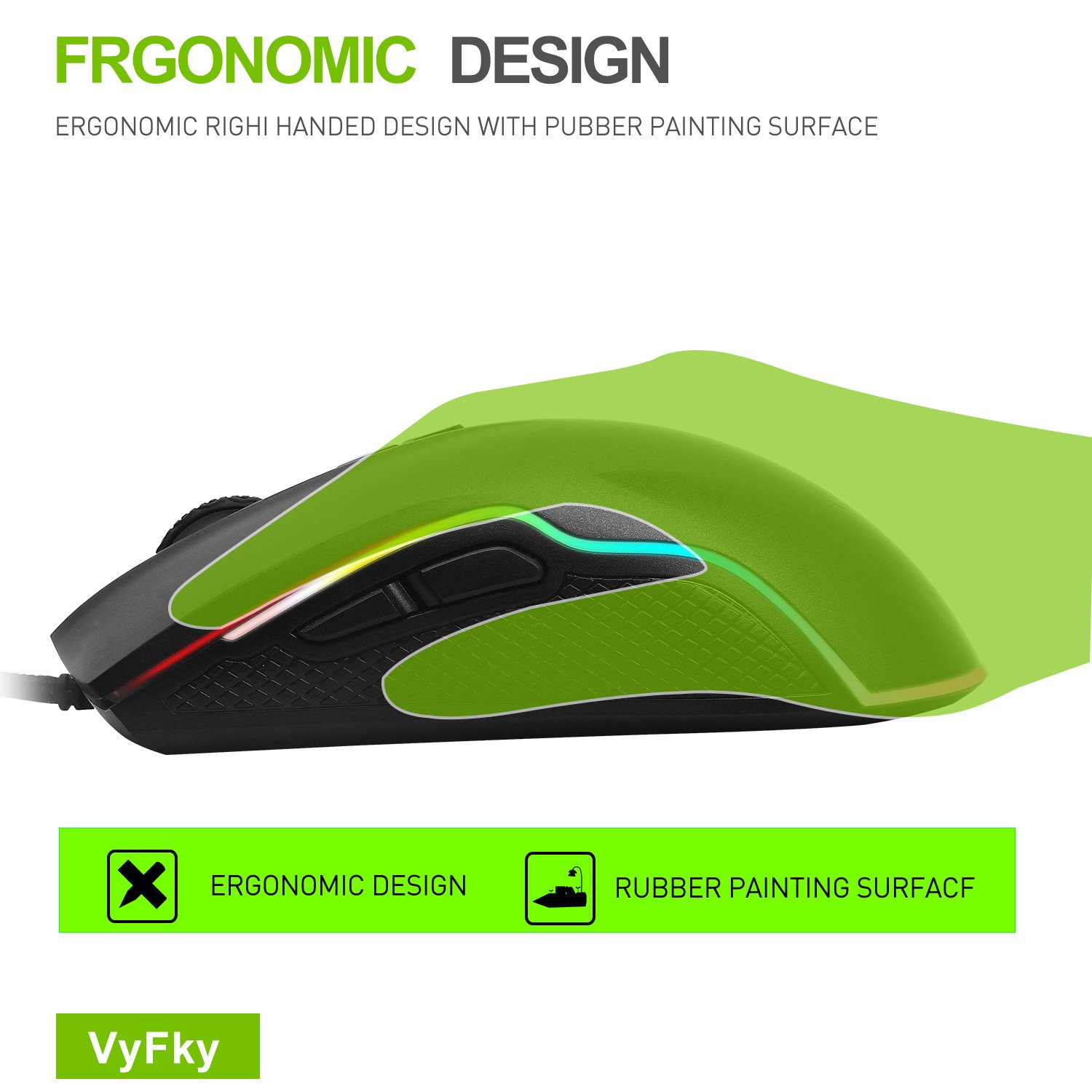 Amazon VyFky Wired Gaming Mouse 5000 DPI Programmable High Precision Optical USB Gaming Mouse for PC Laptop Desktop Windows System 16 8 Million