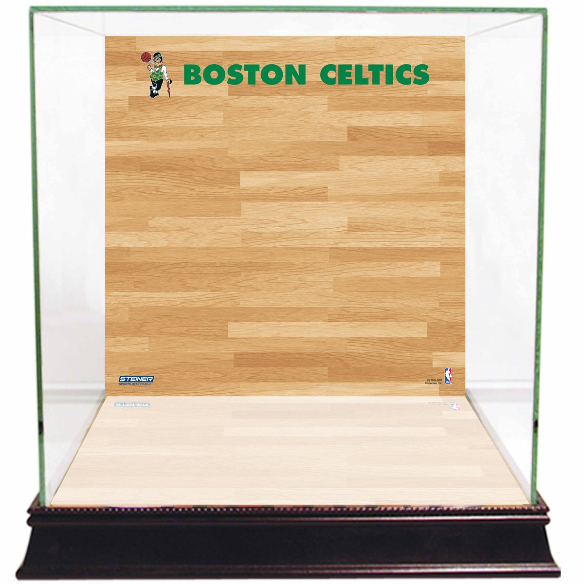 NBA Boston Celtics Glass Basketball Display Case with Team Logo on Court Background by Steiner Sports