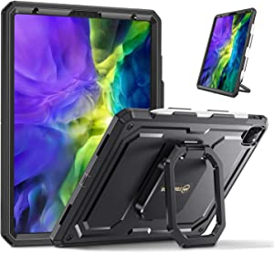 """Fintie Case for iPad Pro 11"""" 2020 & 2018- [Tuatara Magic Ring] 360 Degree Rotating Multi-Functional Grip Shockproof Rugged Cover with Pencil Holder [Supports 2nd Gen Pencil Charging Mode], Black"""