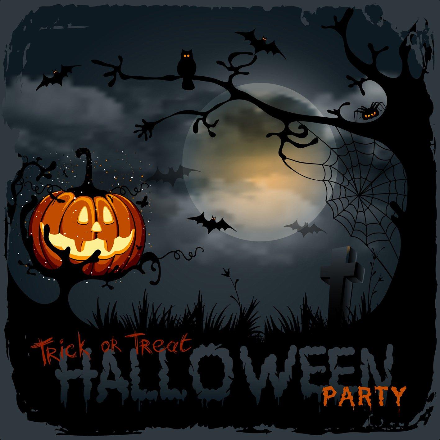 10 x 10 ftハロウィン写真背景Pumpkin Face Bat Moon写真の背景幕Wrinkle Freeシームレスコットン布   B0752CJS3P