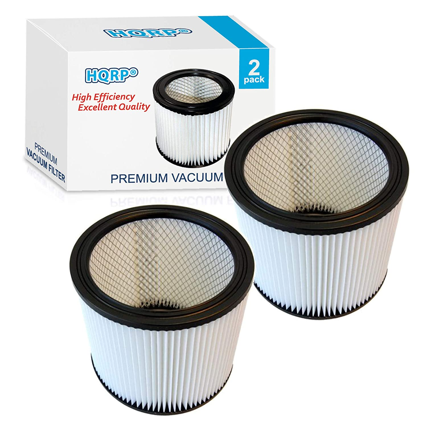 HQRP 2-Pack HEPA Cartridge Filter for Shop vac 90304 Type U 9030400 903-04 903-04-00 Replacement fits most Wet/Dry Pickup Vacuum Cleaner Coaster