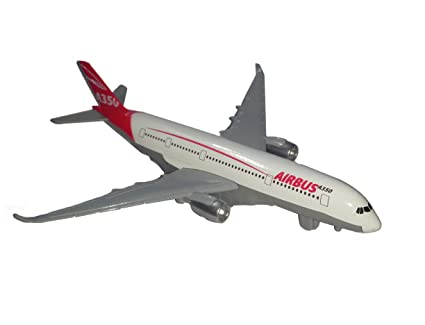 IndusBay Diecast Alloy Metal Airbus A350 Airplane Model Pull Back with Sound Light Aircraft Model Aeroplane Desk Toy for Kids (Red, Size 7.6 Inches)