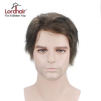 Lordhair - Cabello humano real canoso en forma de tupé para hombre