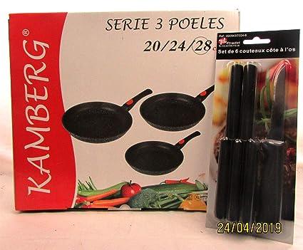KAMBERG - Juego de 3 sartenes 20/24/28 cm, Mango extraíble, Hierro ...