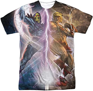 Masters of the Universe He-Man Skeletor Heroes Villains ALL Front /& Back T-shirt