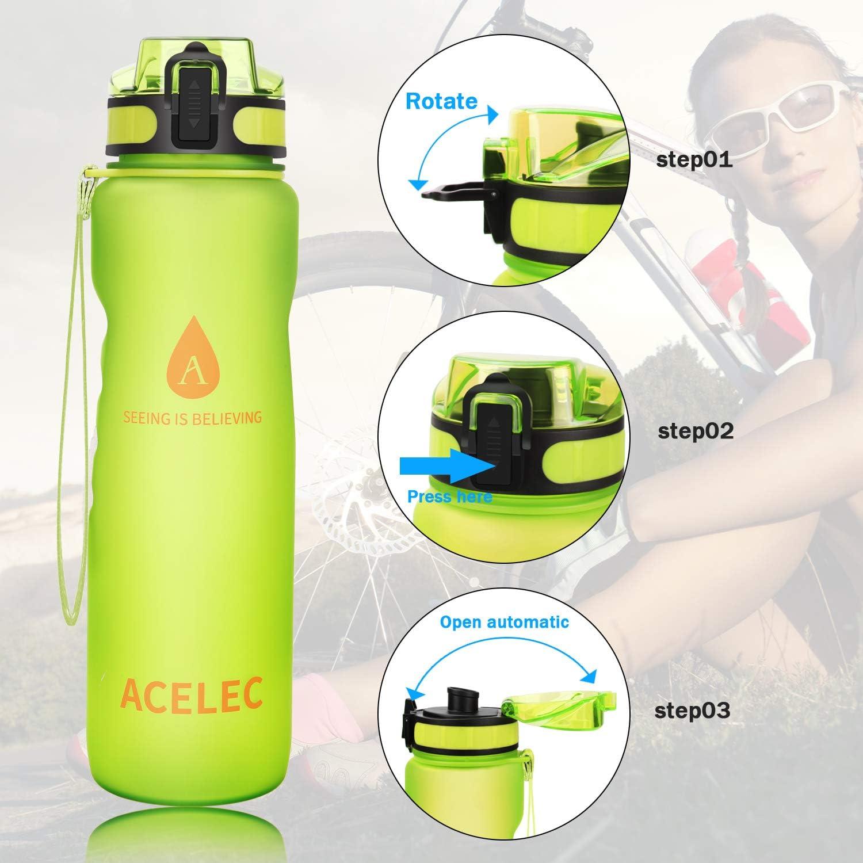 Aocare Botella de Agua Deporte Botella de Agua 1L//36oz Prueba de Fugas