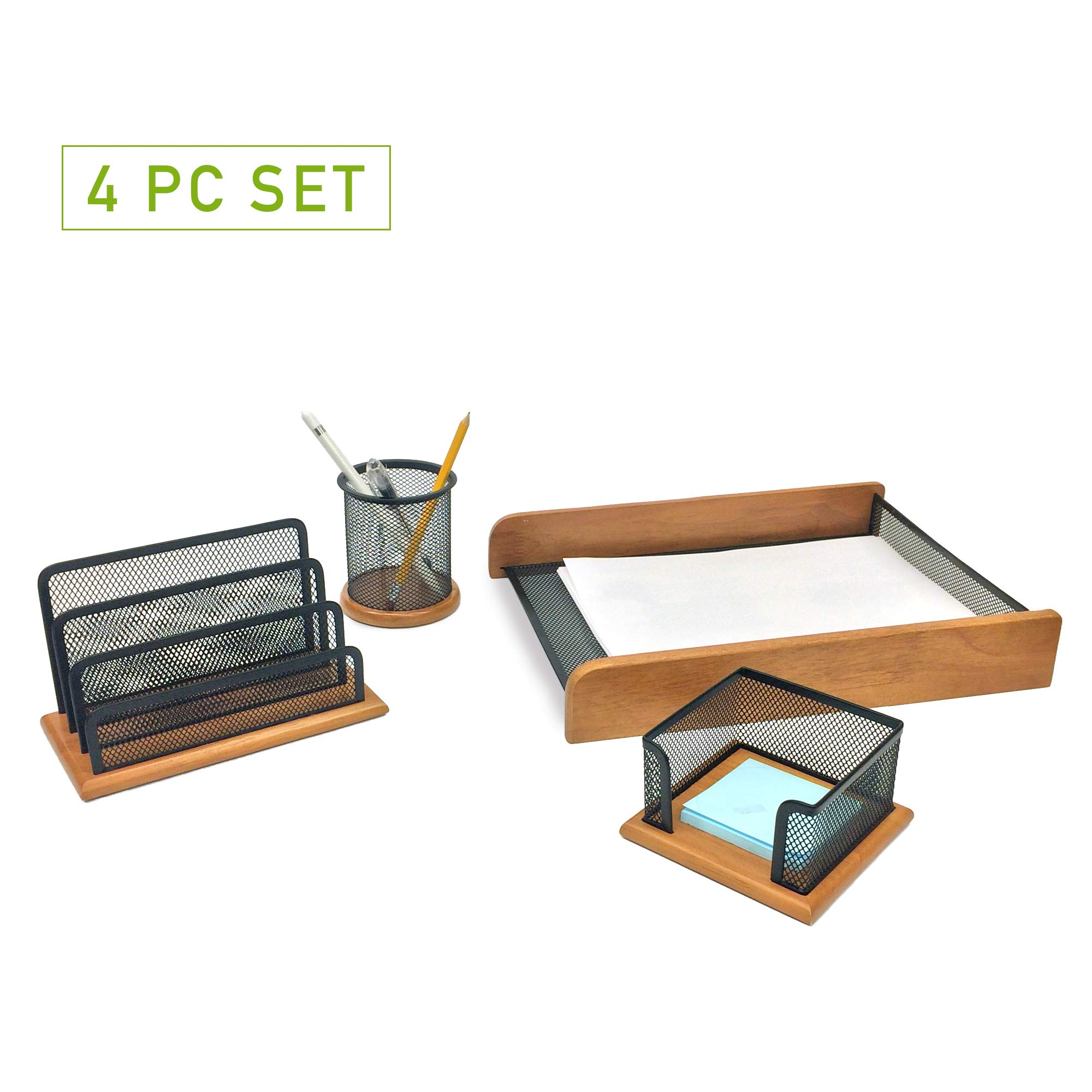 Mind Reader Desk Supplies Organizer Set, Pencil Holder, Document Letter Tray for Papers, Files, Folders, Letters, Memo Holder, Black/Wood
