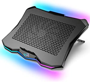 AICHESON Laptop Cooling Cooler Pad with RGB Lights for 15.6-17.3 Inch Computer Notebooks, Metal Panel, 1 Big Fan