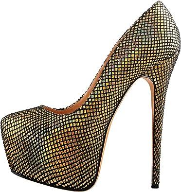 Onlymaker Women Round Toe Suede High Heel Platform Stiletto Slip On Pumps Shoes