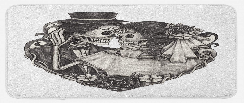 Lunarable Tattoo Kitchen Mat, Skull Wedding Day of