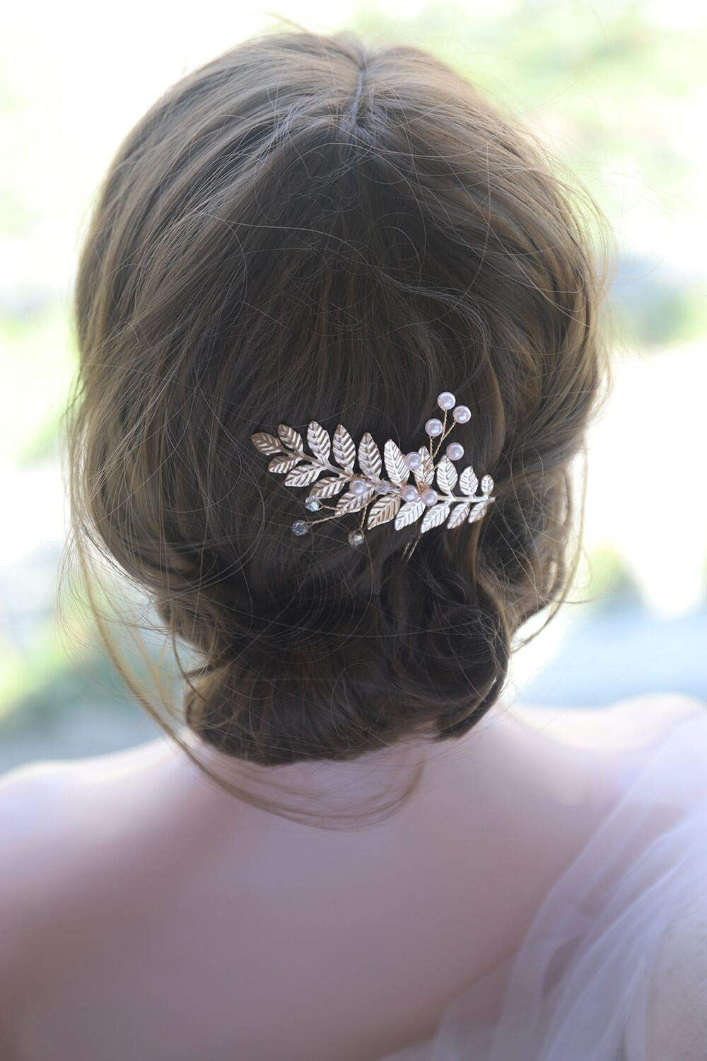 Beautiful Silver Crystal Rhinestone Feather Bridal Party Prom Hair Comb Slide