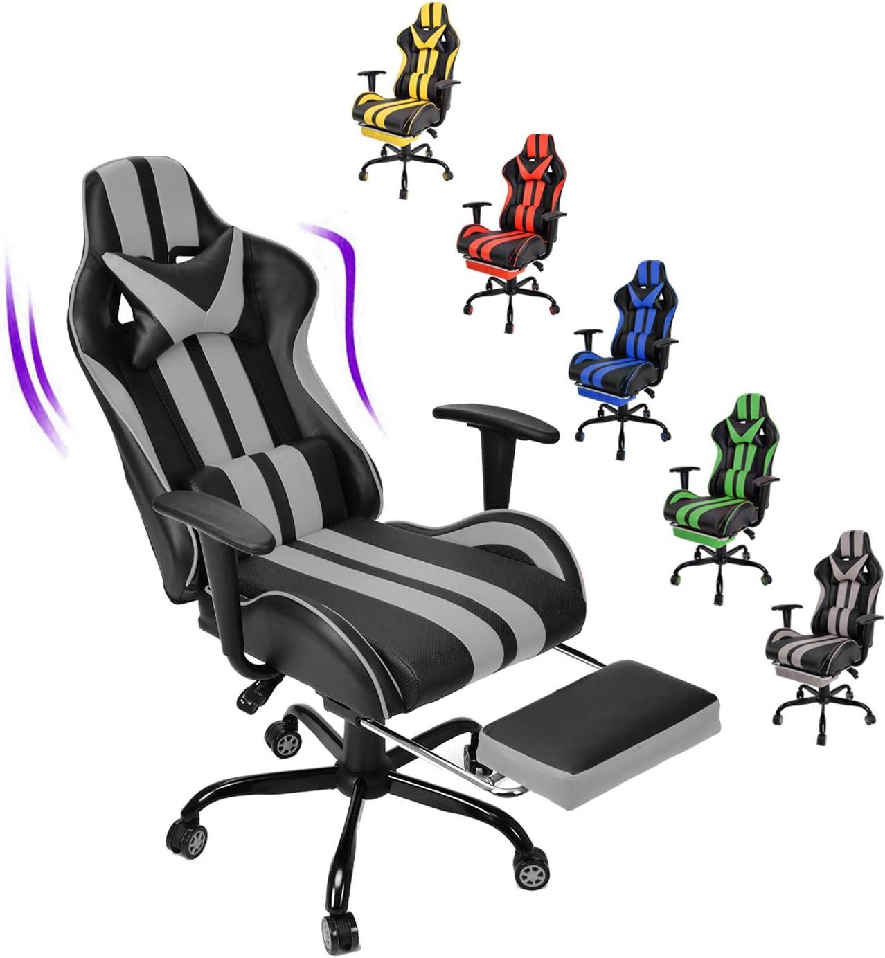 Grigio Soontrans Sedia Gaming con Poggiapiedi Sedia da Ufficio Poltrona da Gioco Ergonomica Girevole con poggiatesta e Cuscino Lombare
