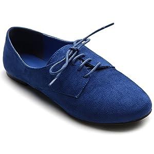 Ollio Women's Ballet?Flat Shoe Faux Suede Lace Up Oxford(6.5 B(M) US, Blue)