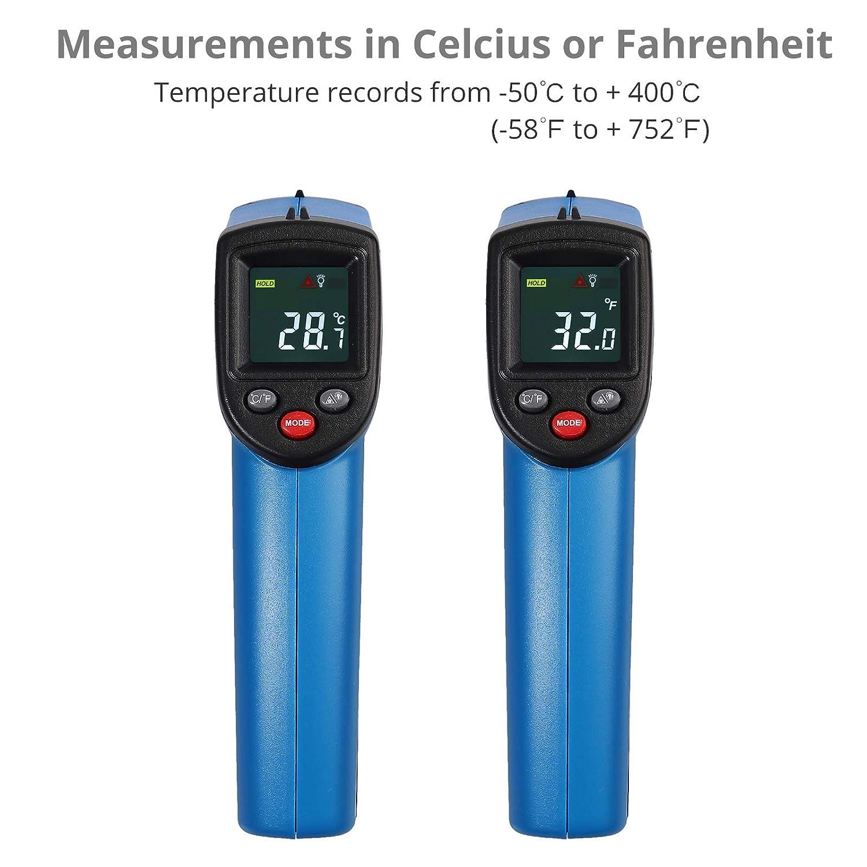 Temperaturpistole Temperaturf/ühler Temperaturmesser mit LCD Beleuchtung CAMWAY Digital Laser Infrarot Thermometer /'-58℉~ 752℉ -50℃ ~ 400℃ f/ür Luft K/ühlschrank Kochen