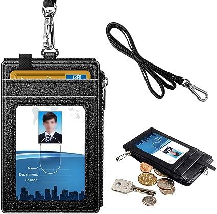 5/carte Porta badge 1/tasca con cerniera laterale e 50/cm nero collo cordino verticale PU ID double face con zip